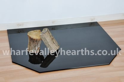 Clipped Corner Rectangle Smoked Glass Hearth