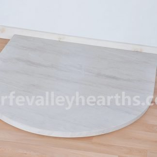 White Stone Semi-Circle Hearth